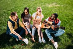 Interracial group of friends with acoustic guitar resting on green grass in park. On summer day royalty free stock images