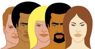 Interracial group of people. Vector illustration Interracial group of people Royalty Free Illustration