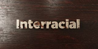 Interracial - grungy wooden headline on Maple  - 3D rendered royalty free stock image Royalty Free Stock Photos