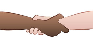 Interracial Handshake Grip. Interracial helping, rescuing, firm handshake grip. Isolated vector illustration on white background Royalty Free Stock Photos