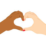 Interracial Heart Hands. Black and white hands making heart love symbol shape Stock Image