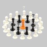 Interracial issues: chess pawns isolated on grey Stock Photography