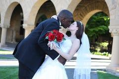 interracial kyssande bröllop för attraktiva par Royaltyfri Foto