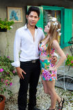 Interracial Love Couple Handsome Asian Man And Pretty Caucasian Royalty Free Stock Image