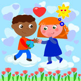 Interracial romantic young love Royalty Free Stock Image