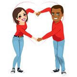 Interracial Saint Valentine Love Royalty Free Stock Image