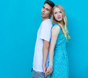 Interracial young couple in love outdoor. Stunning sensual outdoor portrait of young stylish fashion couple posing in summer. Guy Royalty Free Stock Photo