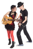 Interracial Young Couple Music Isolated On White Royalty Free Stock Photography