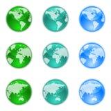 Interri i globi impostati Fotografia Stock Libera da Diritti
