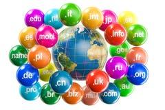 Interri il globo con i Domain Name intorno, rappresentazione 3D Fotografia Stock Libera da Diritti