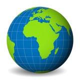 Interri il globo con la mappa di mondo verde e mari ed oceani blu messi a fuoco sull'Africa Con i meridiani ed i paralleli bianch illustrazione di stock