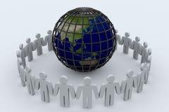 Interri il globo in gabbia e la gente intorno esso. Fotografie Stock