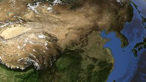 Interri il globo, la macchina fotografica si imbatte nella penisola coreana, 3d rendono, questa immagine è fornito dalla NASA illustrazione di stock