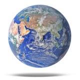 Interri il pianeta blu isolato su bianco con goccia Immagini Stock Libere da Diritti