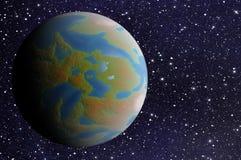 Interri il pianeta con un'ombra laterale sugli ambiti di provenienza delle stelle dell'universo Fotografia Stock Libera da Diritti