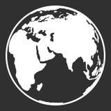 Interri il web del globo del pianeta e l'icona del cellulare nella progettazione piana Fotografia Stock Libera da Diritti