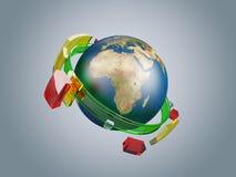 Interri l'illustrazione con i cerchi globali astratti di vetro della rete di telecomunicazioni Fotografie Stock