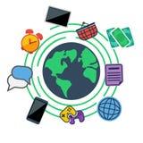 Interri le icone circondate di web, del sociale e di media Fotografia Stock