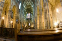 Interrior of St. Vitus Cathedral. Inside of St. Vitus Cathedral, Prague, Czech Republic royalty free stock photos