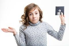 Interrogation de jeune fille à disque souple Photo libre de droits