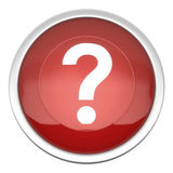Interrogation Icon. A large red Interrogation icon in three d Stock Images