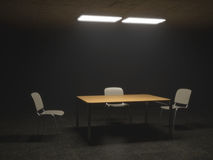 Interrogation Room with Chairs and Table Stock Image