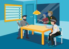 Free Interrogation Room With A Table, Two Chairs, Rear Window, Lamp On Top.At The Table, A Policeman And A Criminal. Behind The Glass Stock Image - 162645781