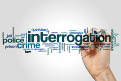 Interrogation word cloud. Concept on grey background stock image