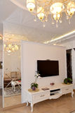 Interroom镜子墙壁分开在客厅 经典现代 免版税库存照片