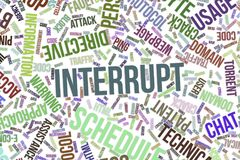 Interrupt, conceptual word cloud for business, information technology or IT. Interrupt, IT, information technology conceptual word cloud for for design Stock Images