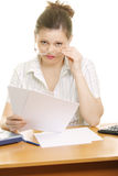 Interrupted businesswoman. Looking over eyeglasses Royalty Free Stock Image