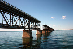 Interrupted rail bridge to key west. Famous old bridge on the ocean from bahia honda to key west in florida with interruption Stock Photos
