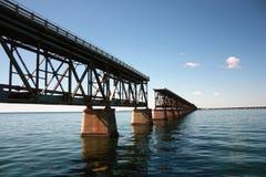 Interrupted rail bridge to key west stock photos