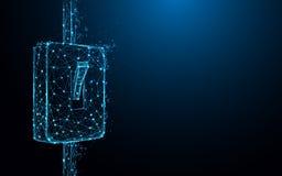 Interrupteur de lampe sur les lignes de forme d'icône et les triangles, réseau se reliant de point sur le fond bleu illustration libre de droits