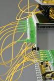 Interruptor ótico do painel de distribuição da fibra com cabos imagem de stock