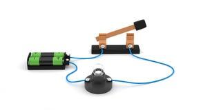 Interruptor abierto de la demostración del circuito eléctrico usando un fondo del blanco de la bombilla y de las baterías Foto de archivo