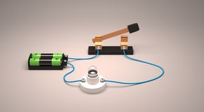 Interruptor abierto de la demostración del circuito eléctrico usando una bombilla y las baterías Foto de archivo
