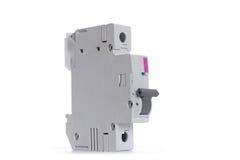 Interruptor automático da eletricidade isolado no fundo branco ilustração stock