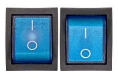 Interruptor azul con./desc. Imagen de archivo