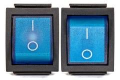 Interruptor azul con./desc. Fotografía de archivo