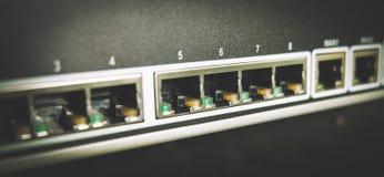 Interruptor azul de Cablings Foto de archivo libre de regalías