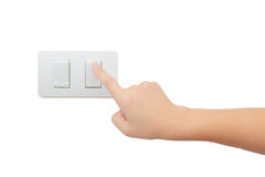 Interruptor bonde de ligar/desligar isolado da volta da imprensa da mão fotografia de stock royalty free