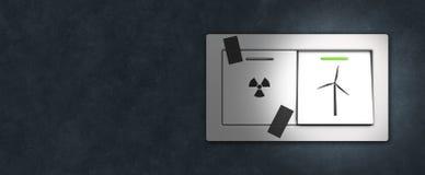 Interruptor da energia nuclear ao poder renovável imagens de stock royalty free
