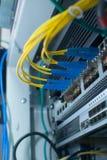 Interruptor da rede Ethernet Cabo de fibra ótica Fotografia de Stock