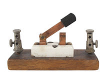 Interruptor de cuchillo eléctrico del vintage aislado. Foto de archivo