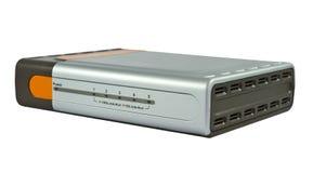 Interruptor de Ethernet en el fondo blanco Imágenes de archivo libres de regalías