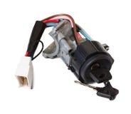 Interruptor de ignição com chave de ignição fotografia de stock