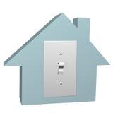 Interruptor de la casa de la electricidad en luz eléctrica en el país Imagen de archivo