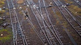 Interruptor de la pista de ferrocarril en Japón en el invierno Fotos de archivo libres de regalías
