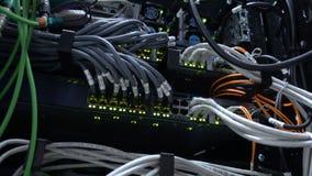 Interruptor de trabalho dos ethernet na sala do centro de dados Lâmpadas verdes do piscamento 4K video estoque